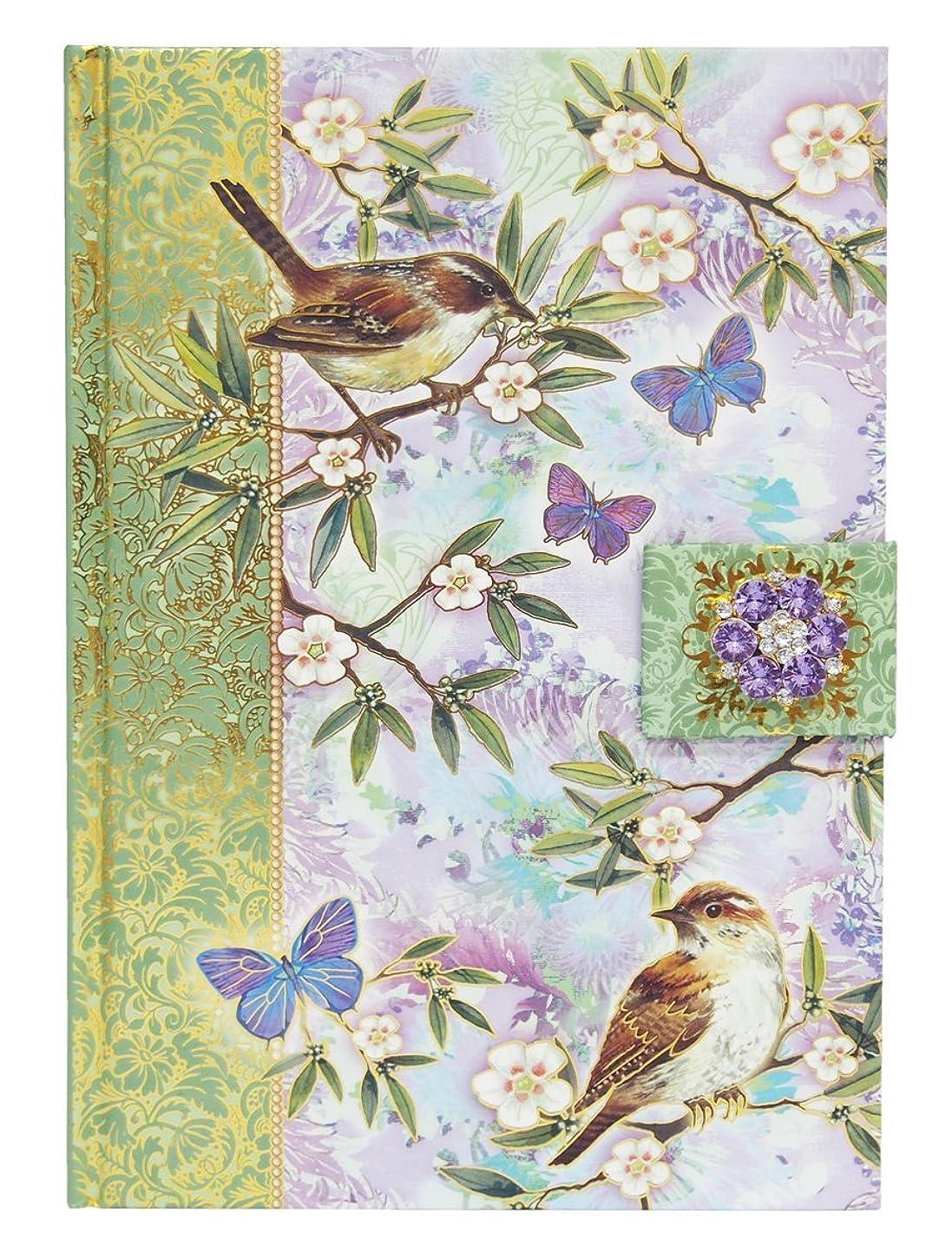 パンチスタジオ ブローチ付き ジャーナルノート マグネット式 (鳥×グリーン×パープル) 95062