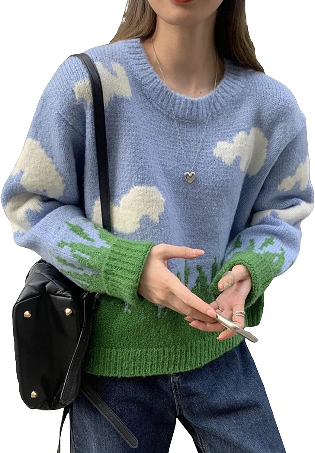 Vintage Oversized Sweaters for Women Long Sleeve Graphic Print Knit Sweater Y2k Aesthetic Baggy Pullover Sweater