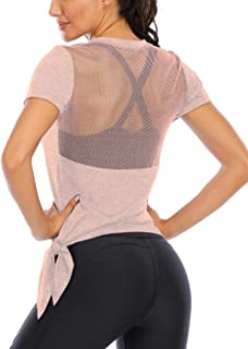 ICTIVE Women's Workout Tops Short Sleeve Mesh Back Side Tie Workout Tank Tops for Women Backless Yoga Tops for Womens Pila...
