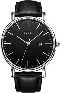 BUREI Men's Watch Ultra Thin Women Quartz Analog Wrist Watch Date Calendar Dial Stainless Steel Mesh Band/Leather Band