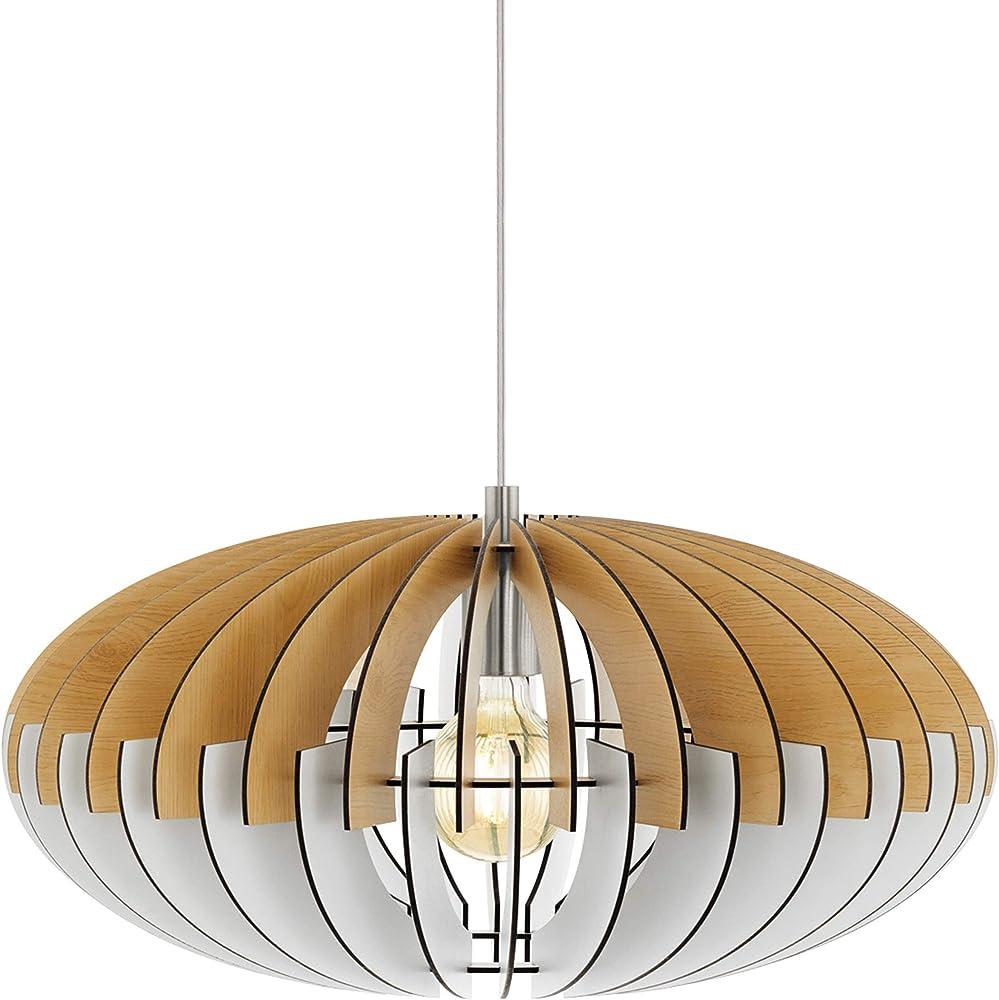 Eglo sotos - lampada a sospensione vintage , in legno e acciaio 96963