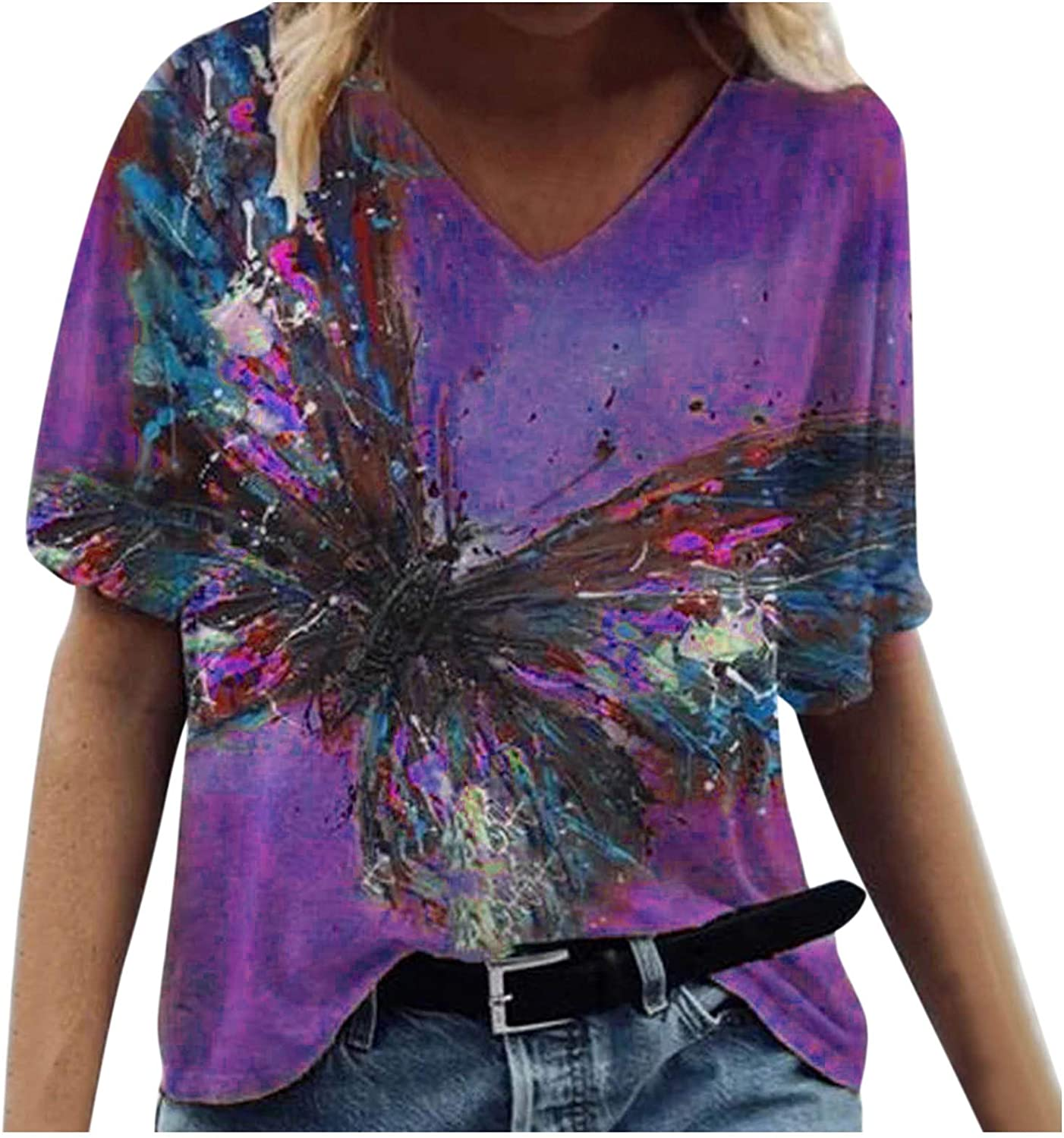 Women's Raleigh Mall Shirts Casual Blouse Short Wate Popular popular Vintage Sleeve Butterfly