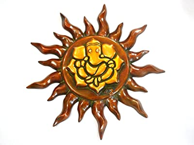 Collectible India Large Sun God Ganesha Wall Hanging Brass Sculpture   Ganesh Wall Mount Home Decor Decorative Outdoor Gifts