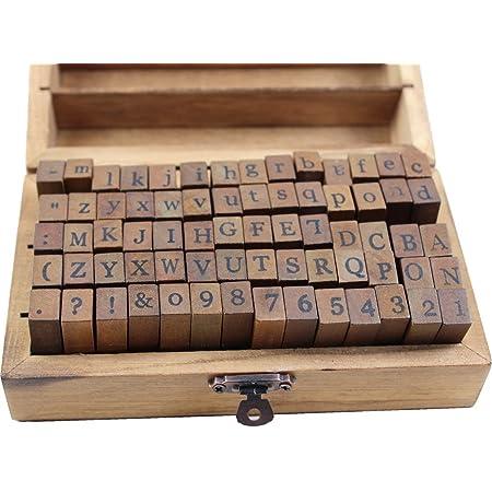 Card Making Number and Symbol Stamp Set,Wooden Ink Stamps Set Stamper Seal Set,for Arts Crafts 70pcs Alphabet Stamps Vintage Wooden Rubber Letter