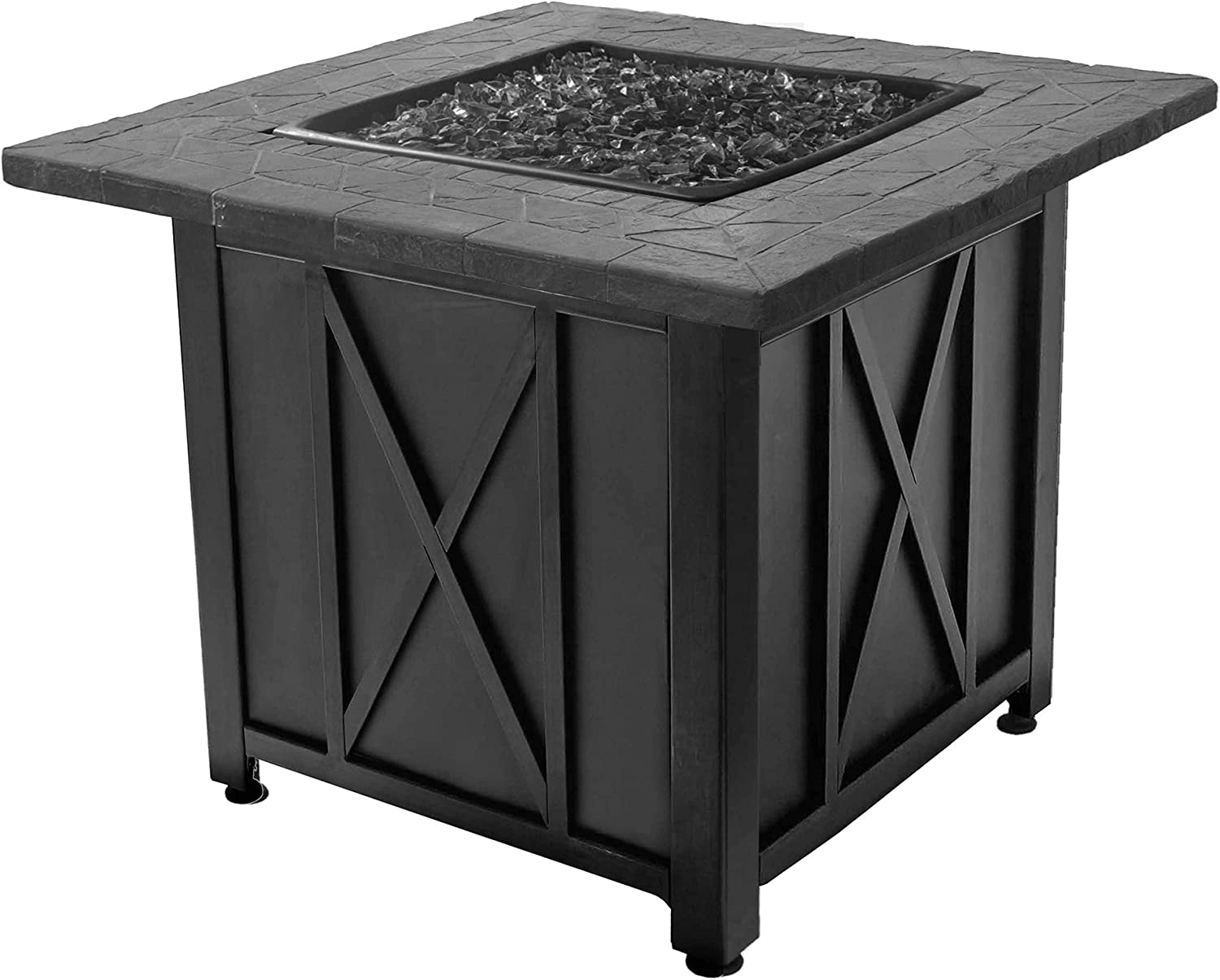 bluee Rhino Endless Summer Outdoor Propane Gas Black Lava Rock Patio Fire Pit