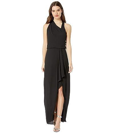 Halston Asymmetric Draped Gown (Black) Women