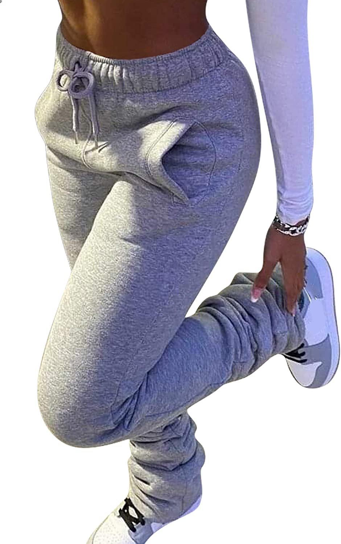 HuiSiFang Ranking TOP14 Women Stacked Pants Columbus Mall Fleece Thicked Warm Jog Sweatpants