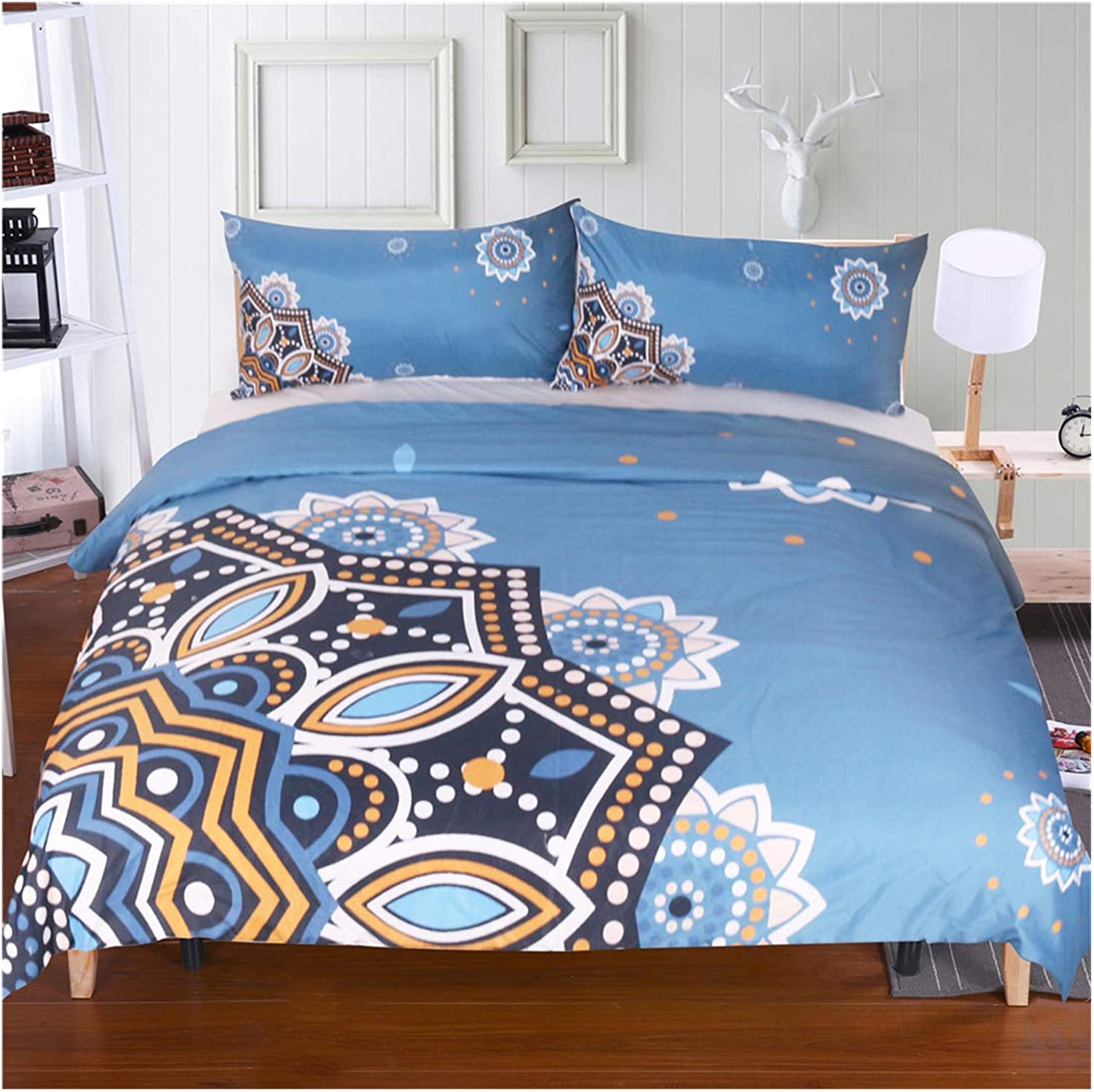 Homebed Microfiber Duvet Set 3D Bronze Flower Gradient Duvet Cover and Pillowcase Indian bluee Floral Bedding Cover Set