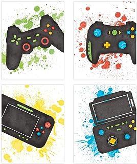 KAIRNE 4er Set Gaming Poster,Bilder für Gamer,Videospiel Wand Bild,Aquarell Game Karton Wandeko,Wandkunst für Jungen Teenager Schlafzimmer Spielzimmer Kinderzimmer Geschenk Dekor8× 10 Ohne Rahmen