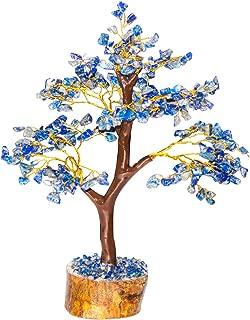 Crocon Natural Healing Gemstone Crystal Bonsai Fortune Money Tree for Good Luck, Wealth & Prosperity Spiritual Gift Size 10-12 Inch (Lapis Lazuli (Golden Wire))