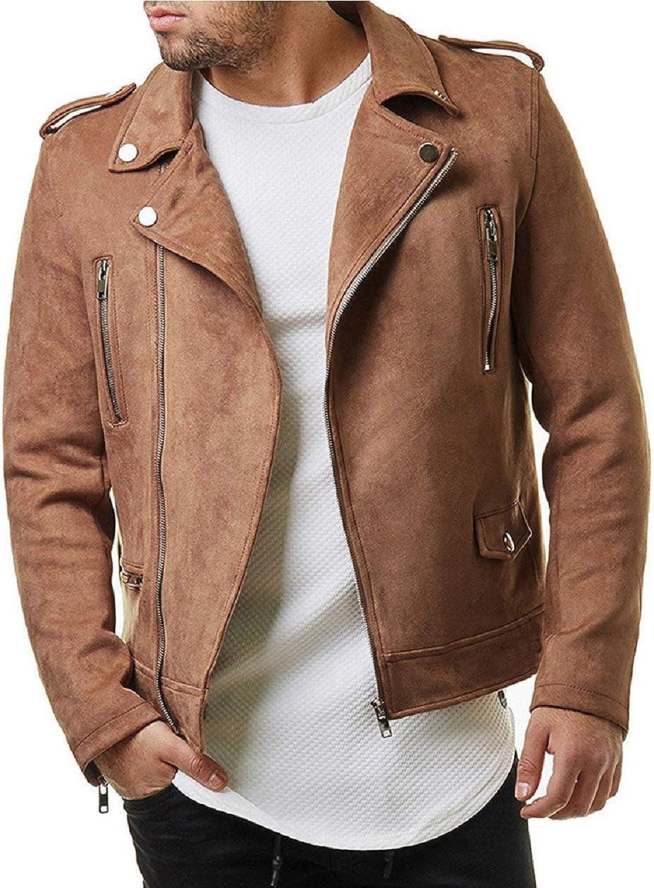 CHARTOU Men's Notched Collar Oblique Zipper Faux Suede Leather Moto Jacket Outwear