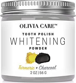 OLIVIA CARE Charcoal Tooth Polish - Flavors: WINTERGREEN, PEPPERMINT, COCONUT, TURMERIC -Natural Whitening, Anti Fungal White Clay that fights Stains, Cavities, Bad Breath, Gum Disease (Turmeric)