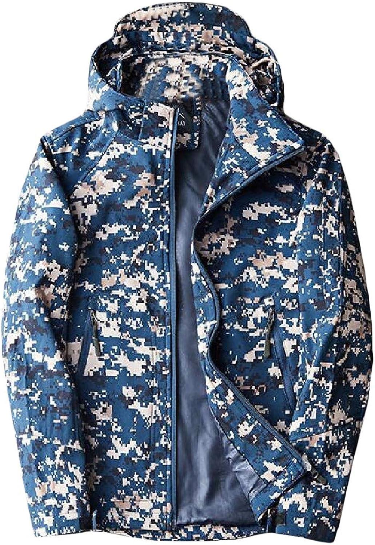 Cromoncent Men Stylish Camouflage Outdoor Hooded Zip Up Outwear Coat Jacket