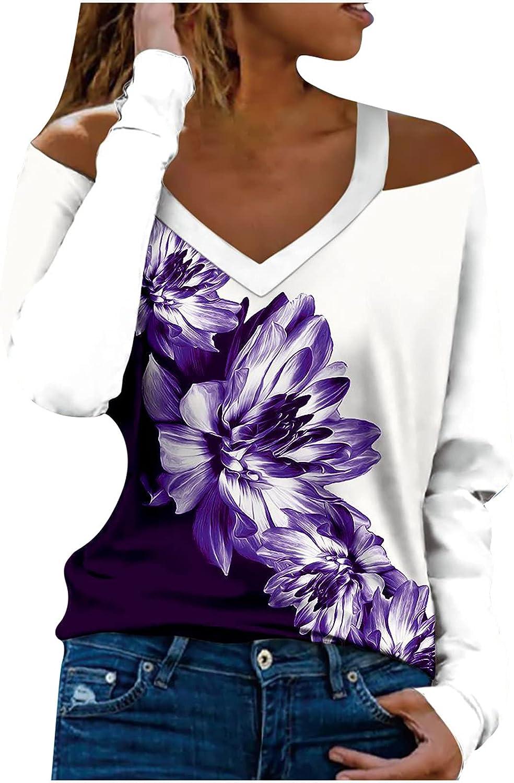 Womens Off Shoulder Pullover Top Fall V-Neck Long Sleeve Halter
