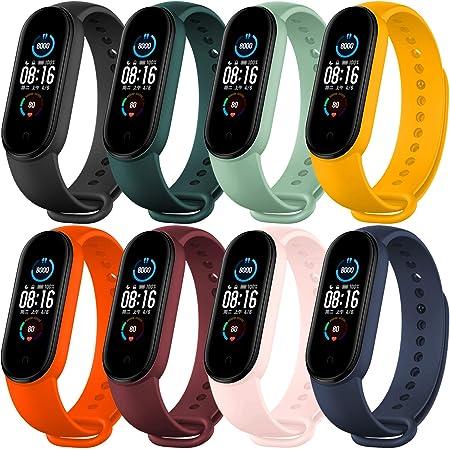BANGTING 8 PCS Correa Compatible con Pulseras Xiaomi Mi Band 5, Correas para Fundas Mi Fit Band 5 NFC My Band 5 Inteligente Funda Miband5 Pulsera Reloj Silicona Banda Reemplazo