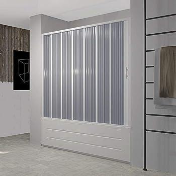 RL Puerta Mampara de bañera 140 CM de PVC Mod. Nina con Apertura Lateral: Amazon.es: Hogar