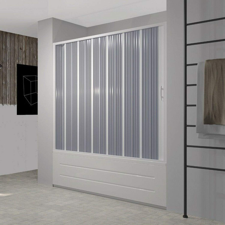 Puerta de Bañera 170 cm en PVC Plegable con Apertura Lateral H 150 cm Color Blanco Mod. Flex: Amazon.es: Hogar