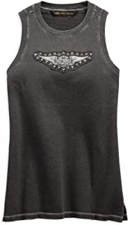 HARLEY-DAVIDSON Women's Studded Wing Muscle Tee, Black