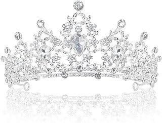 Delleu Diadème de mariage avec strass en cristal et couronne argentée