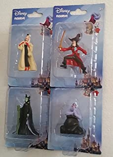 Animated Movie Villains - 4 Character Figurines From - Peter Pan, Little Mermaid, 101 Dalmatians, Sleeping Beauty