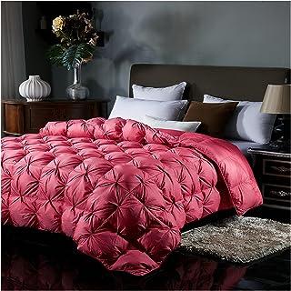CFSNCM Goose Down Quilt Couverture de pain 100% coton Couverture imprimée Soft Soft Satin Couette (Color : Red, Size : 220...