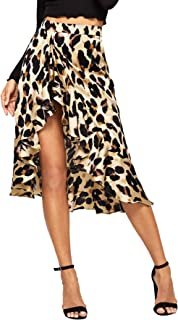 Verdusa Women's Ruffle Trim High Split Leopard Print Midi Skirt