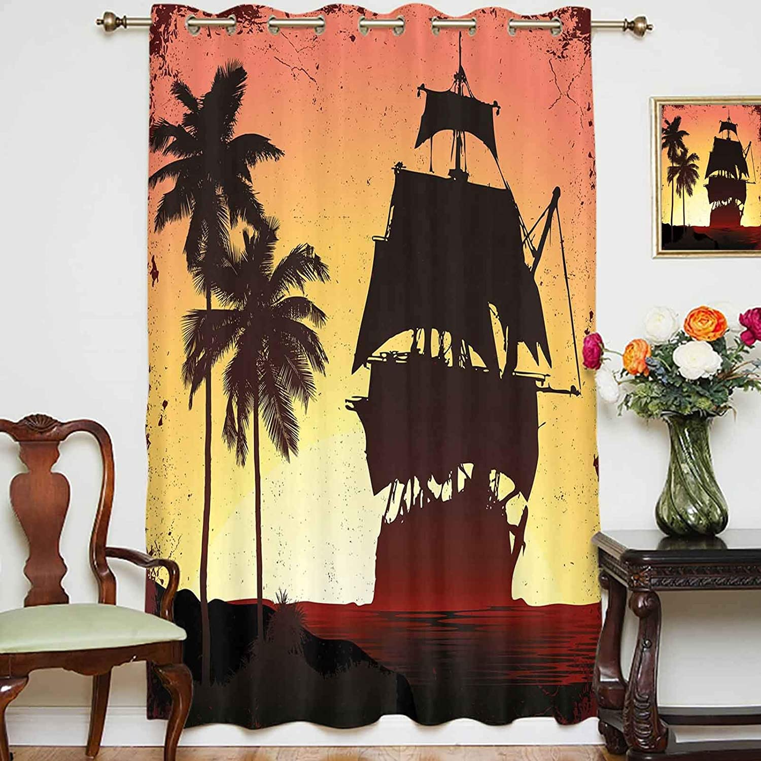oobon Blackout Shading Curtains Spasm price Buccaneers on Ship Myste Sailing Austin Mall