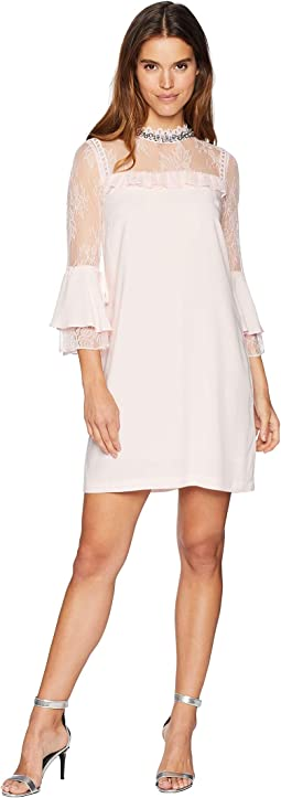 Lace Mixed Ruffle Shift Dress