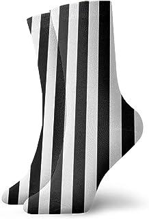 ストライプ縦白黒ファッショナブルなカラフルなファンキー柄コットンドレスソックス11.8インチ
