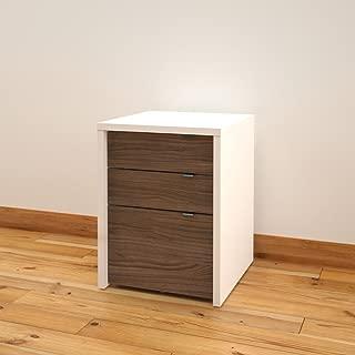 Liber-T 3-Drawer Filing Cabinet from Nexera, White and Walnut