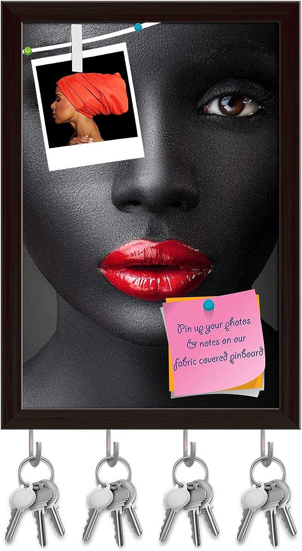 Artzfolio Woman with Dark Skin Key Holder Hooks   Notice Pin Board   Dark Brown Frame 6 X 8.5Inch