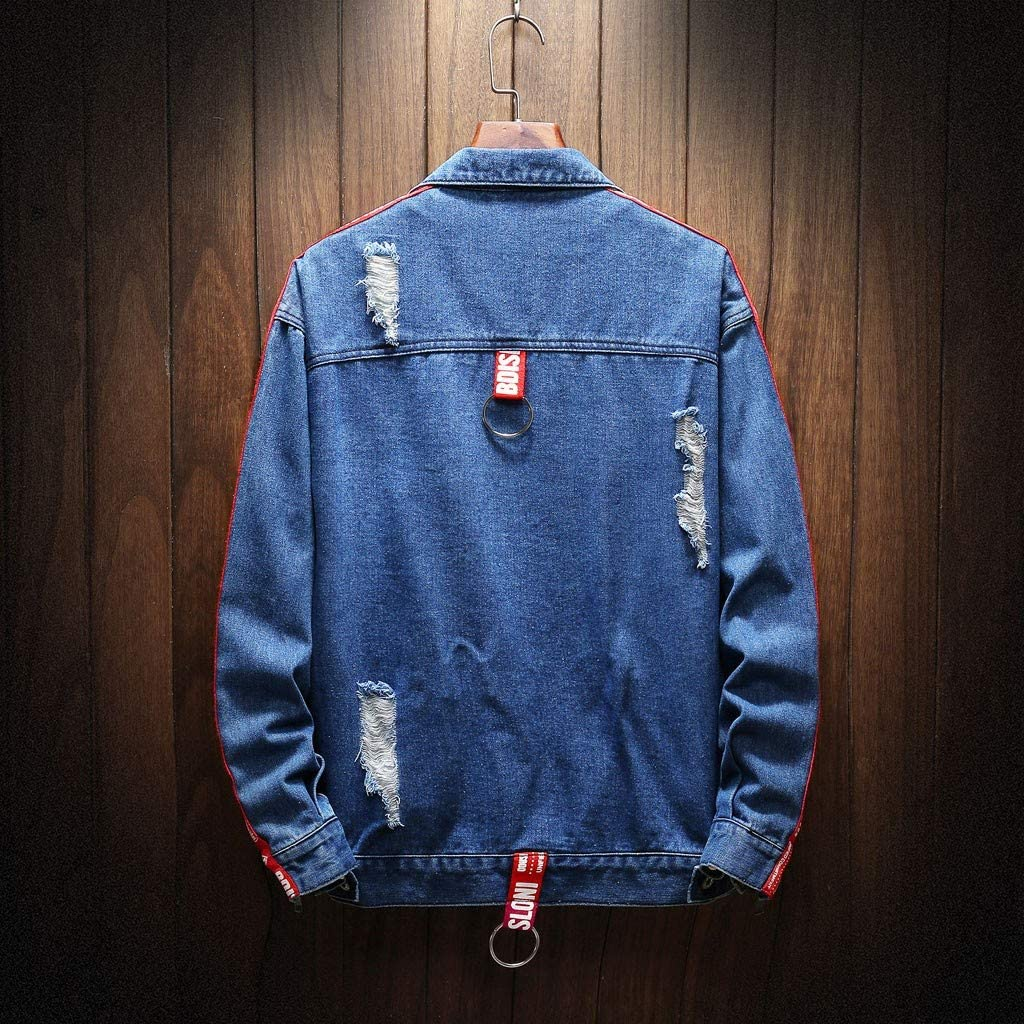 MODOQO Mens Jacket Long Sleeve Casual Loose Fit Denim Outwear Coat with Pocket