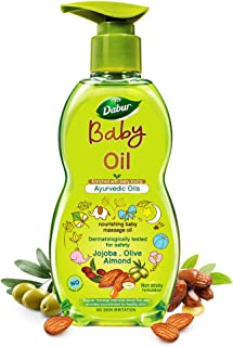 Dabur Baby Oil: Non - Sticky Baby Massage Oil with No Harmful Chemicals |Contains Jojoba, Olives & Almonds | Hypoallergeni...