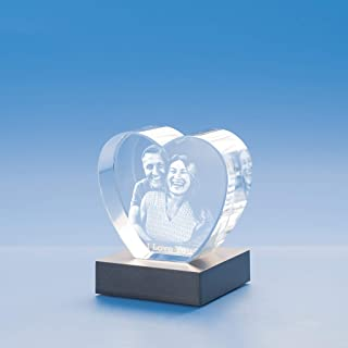 Heart Crystal, 3D Engraved - Medium with Black Base