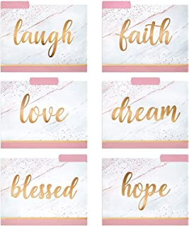 Decorative File Folders - 12 Fancy File Folders with Inspirational Words Emboss in Rose Gold Foil - Colored File Folders - Cute File Folders - Letter Size File Folders - 9.5 x 11.5 Inches