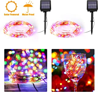 Solar String Light,2 Pack 30FT 100 Led 8 Modes Solar Christmas Fairy Lights Waterproof Copper Wire Twinkle String Lights for Indoor Outdoor Decoration Bedroom Patio Party Wedding Garden-Multi-Color
