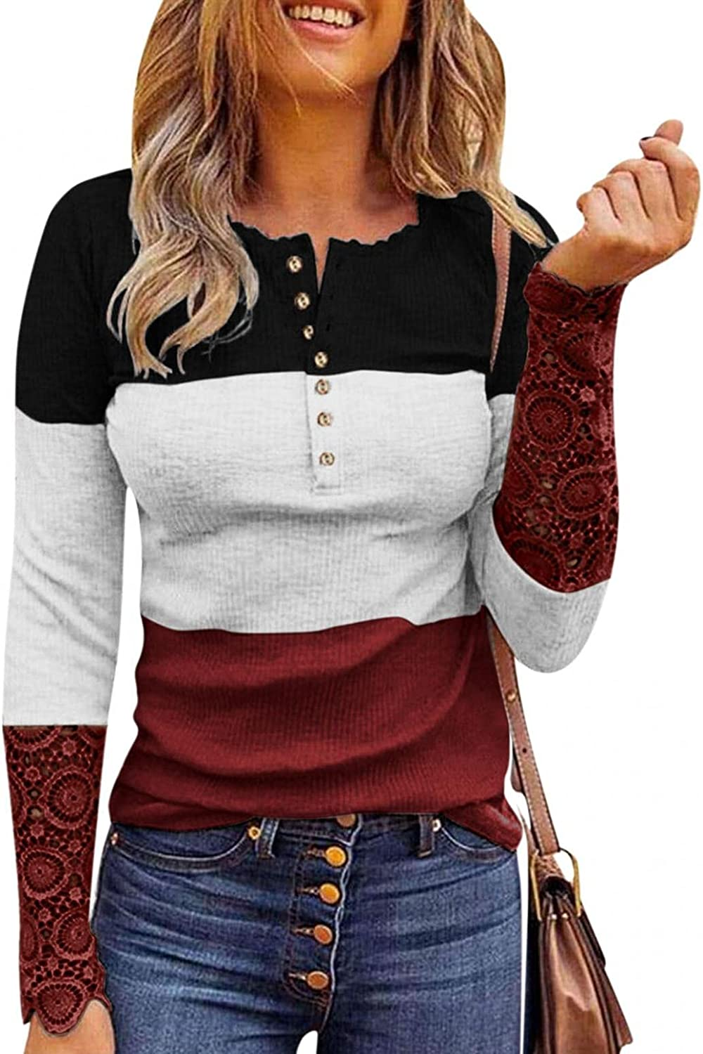 PHSHY Womens Ribbed Knits Henley Tops S Sale High quality new Long Lace Printed Floral