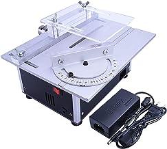 Sierra de mesa portátil de sobremesa, Mini sierra de mesa, banco de sierra circular eléctrica, máquina portátil con regla de ángulo y mandril ajustable, mesa de aleación de aluminio engrosada, función