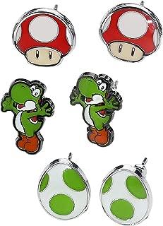 Nintendo Super Mario Bros - Yoshi, Egg & Mushroom Stud Earrings | 3 Pair Set