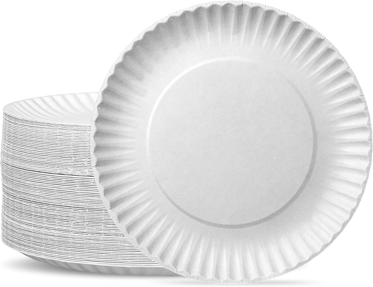 Amazon.com: [300 Pack] Bulk Disposable White Uncoated Paper Plates, 9 Inch  Large : Health & Household