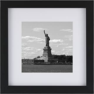 ONE WALL Tempered Glass 1PCS 8x8 Picture Frame with Mats for 5x5, 4x4 Photo, Black Wood Frame for Wall and Tabletop - Mounting Hardware Included