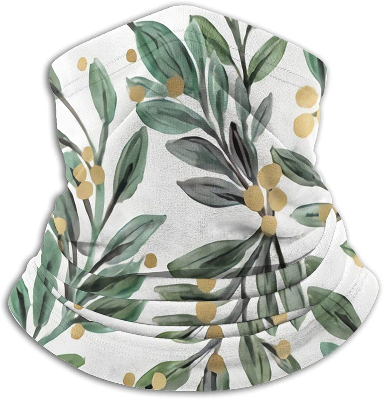 Mistletoe Sage and Gold Berries Bandanas Neck Gaiter Face Mask Scarf Face Shield