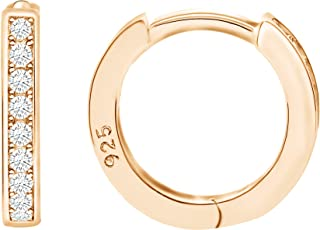 Spoil Cupid 14k Gold Plated Sterling Silver Cubic Zirconia Small Hoop Huggie Cartilage Earrings Cuff