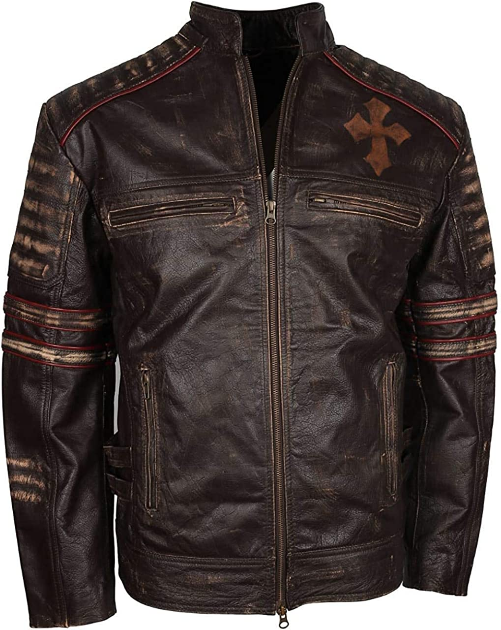 Mens Brown Leather Jacket with Cross Logo | Brown Leather Jackets | Brown Leather Jackets for Men | Cafe Racer Leather Jacket