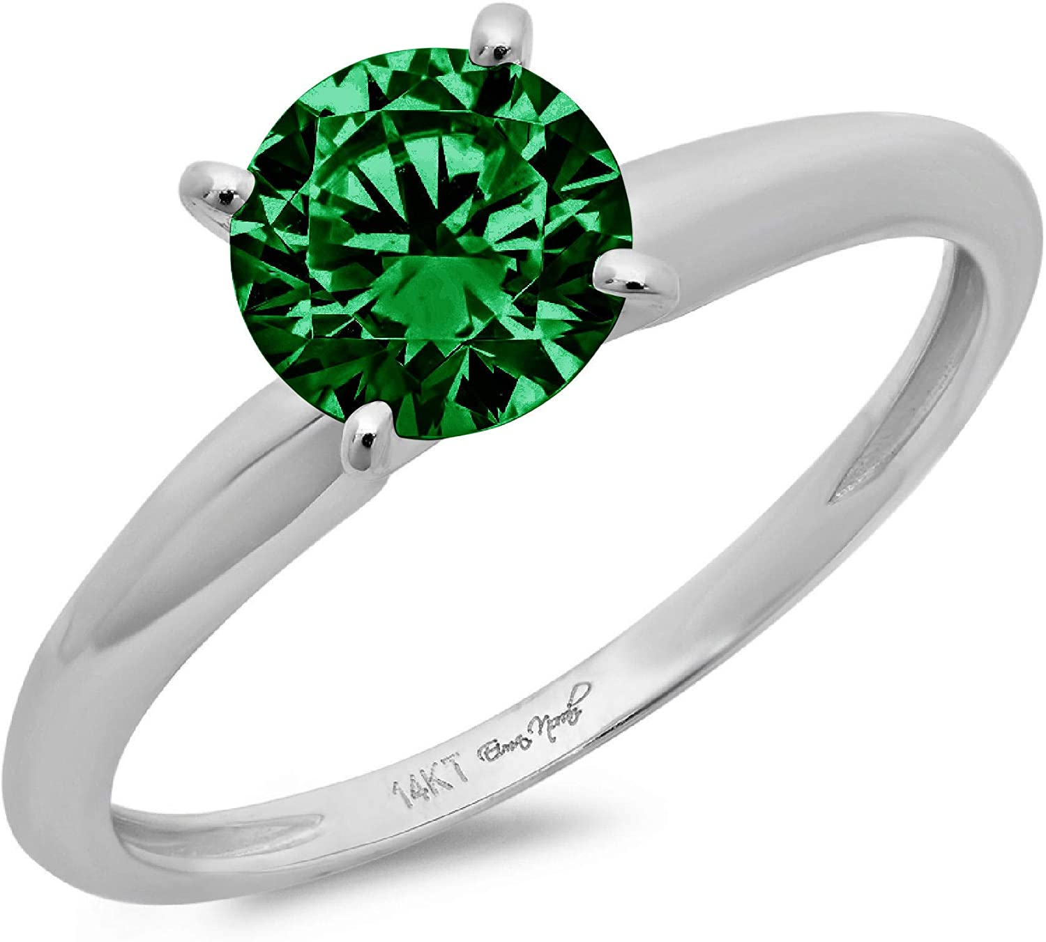 2.4ct Brilliant Round Cut Solitaire Flawless Simulated CZ Green Emerald Ideal VVS1 4-Prong Engagement Wedding Bridal Promise Anniversary Designer Ring in Solid 14k White Gold for Women