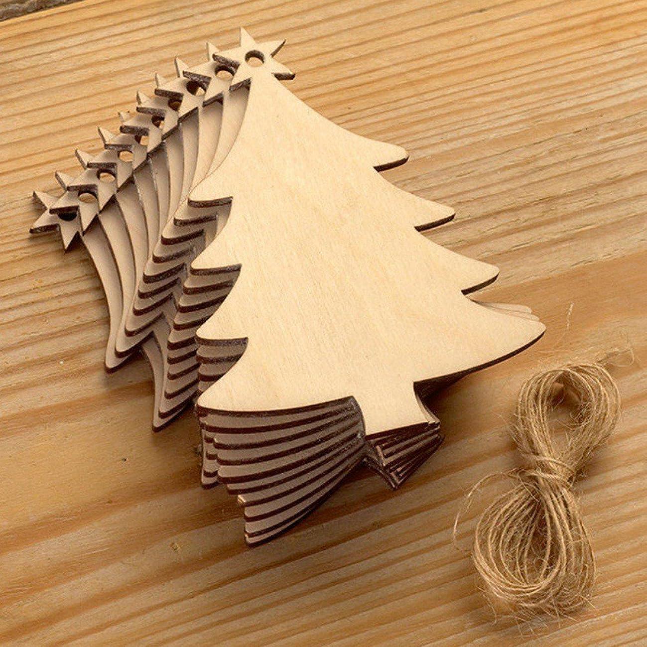 渦スケッチ激しいEtopfashion 10個セット クリスマス 手作り木製 オーナメント 縄付き ツリー飾り 中庭飾り デコレーション 鹿/サンタさん/ソックス/雪だるま型 装飾 コースター ぶら下げ 小物 クリスマスギフト