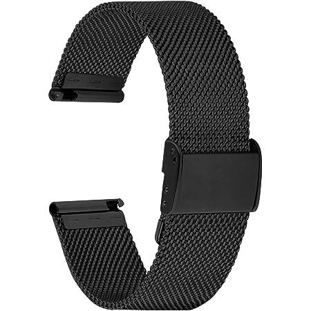 Fullmosa Cinturino per Orologio 20mm, Cinturini in Acciaio Inossidabile di Ricambio Compatibile con Orologi Samsung/Huawei, per Donna e Uomo, Nero 20mm