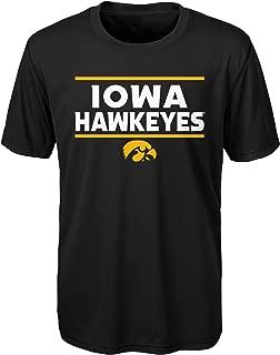 Outerstuff NCAA Iowa Hawkeyes Youth Boys Short Sleeve Performance Tee, Youth Boys Large(14-16), Black