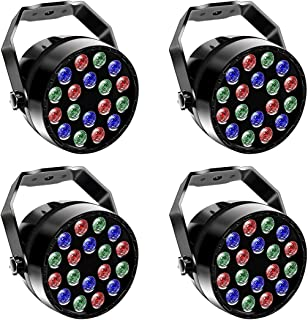 LED Par Bühnenlichter RGB Bühnenbeleuchtung Scheinwerfer Farben Mischen Beleuchtung Lichteffekte Auto Sound DMX512 Modi für Stage Lights Disco DJ Party Show Bar UKing (4 Stücke)