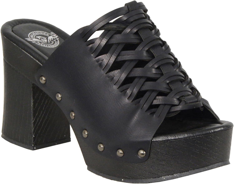 Milwaukee Ladies Blk Lace top Plaform Studs Comfortable Soft New Clog Summer Sandals